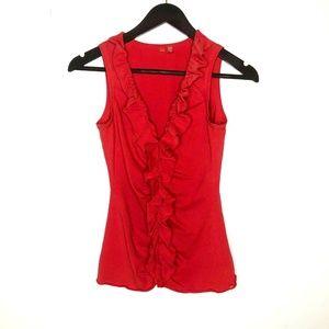 Esprit Blouse Shirt Red Ruffle Front Summer Top
